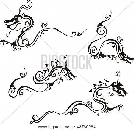 Stylistic Dragon Tattoos