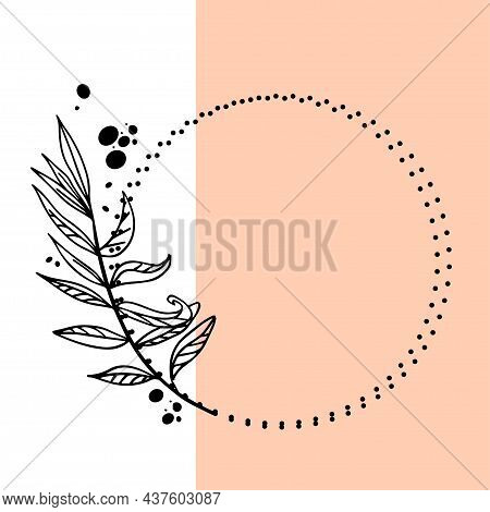 Floral Round Frame, Wreath Twig In Outline Style On Two-tone Trendy Background. Vector Illustration