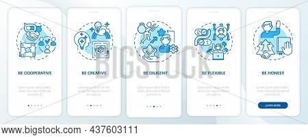 Traits For Career Advancement Blue Onboarding Mobile App Page Screen. Success Walkthrough 5 Steps Gr