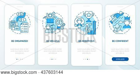 Personal Traits For Employee Blue Onboarding Mobile App Page Screen. Success Walkthrough 4 Steps Gra