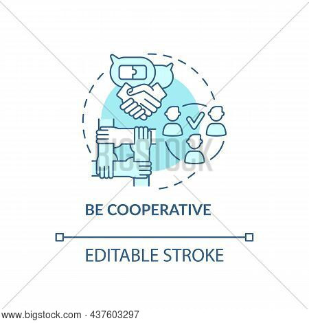 Be Cooperative Blue Concept Icon. Professional Teamwork. Partnership At Work. Career Advancement Abs