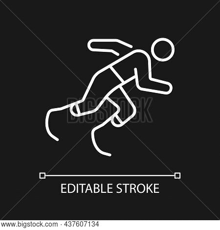Athletics White Linear Icon For Dark Theme. Running Competition. Athlete With Disability. Thin Line