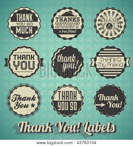 Vector Set: VIntage Thank You Labels