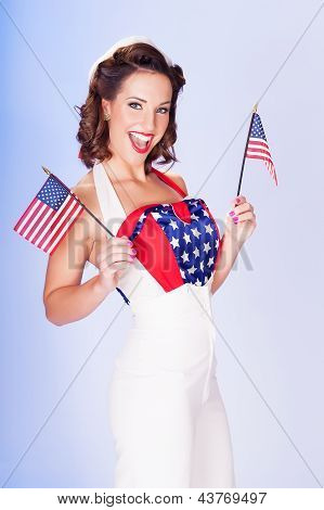 Cute Brunette Celebrating 4Th July With American Flags