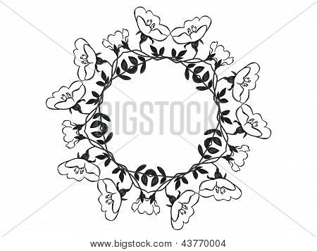 A floral circle of rose blossoms and leaves in a circle design poster
