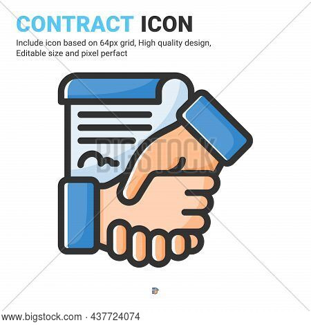 Contract Icon Vector With Outline Color Style Isolated On White Background. Vector Illustration Agre