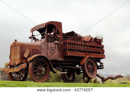 Calistoga Water Truck Sculpture  in Napa Valley.