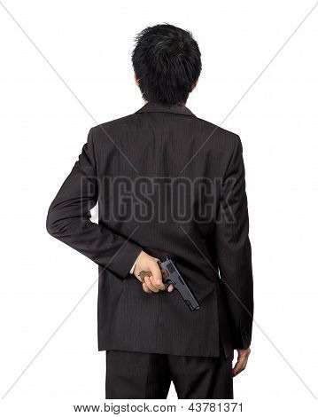 Back Of An Asian Male Carry A Gun On White