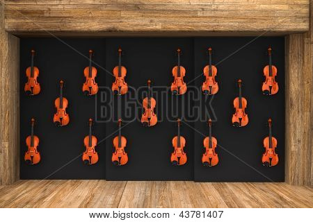 Violins Hung On The Wall