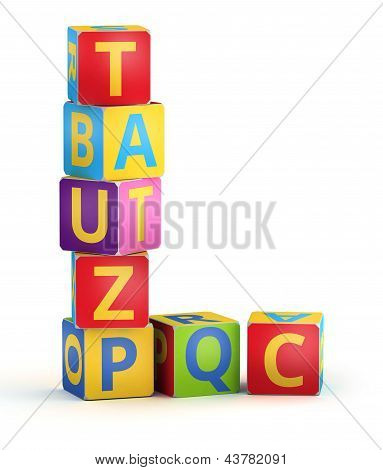 Letter L from ABC cubes for kid spell education poster