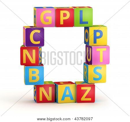 Letter O maked from abc cubes