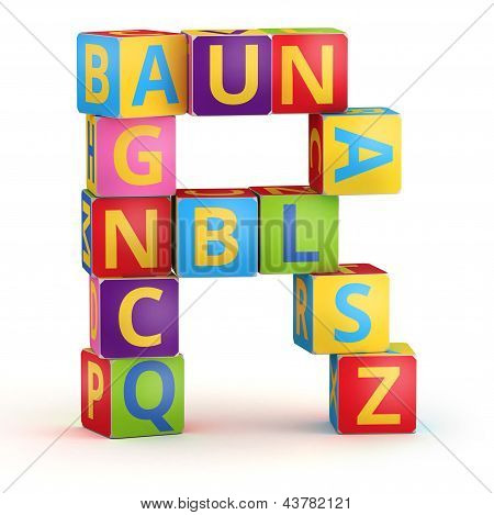 Letter R from ABC cubes for kid spell education poster