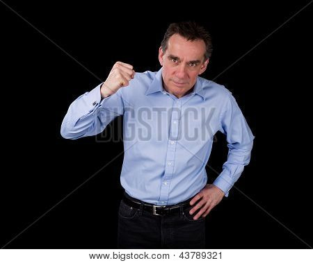 Angry Middle Age Business Man Shaking Fist