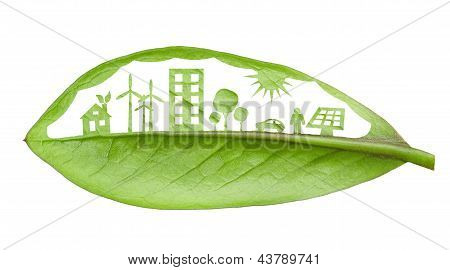 Green Futuristic City Living Concept. Life With Green Houses, Solar Panels, Wind Farm, Eco Cars And