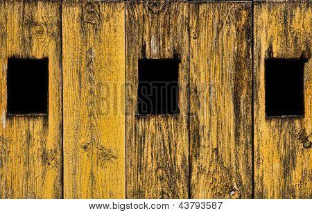 Three Windows On The Wood Door