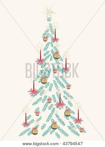 Retro beige Christmas tree card