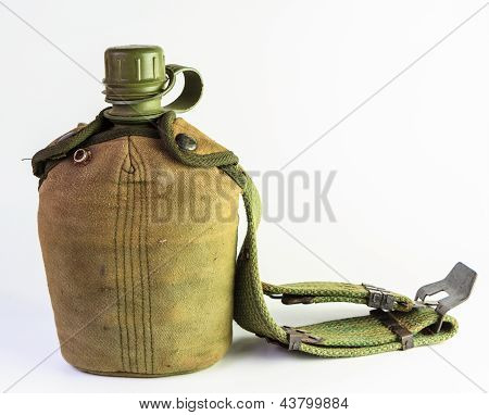 Vintage Army Water Canteen And Cover With A Cartridge Belt
