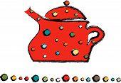 Cute red polka dot ceramic like teapot drawing / illustration poster