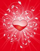 Illustration of Valentine background with hearts and sunburst and green flower poster