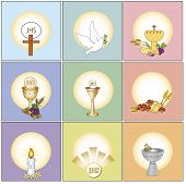 a illustration of some religion icons isolated poster