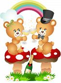 Scalable vectorial image representing a teddy bear couple toasting with champagne, isolated on white. poster