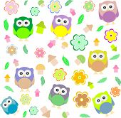seamless background with spring elements - owls mushrooms and flowers, art illustation poster