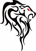 Tattoo Lion - Tribal Silhouette Image Vector poster