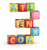 Number 3 from ABC cubes for kid spell education poster