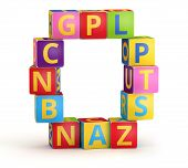 Letter O from ABC cubes for kid spell education poster