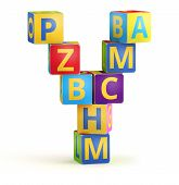 Letter Y from ABC cubes for kid spell education poster