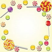 Background with lollipop and candies frame. Vector illustration poster