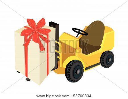 Forklift Truck Loading A Beautiful Gift Boxes