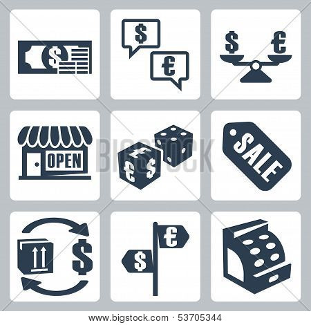 Vector Money/shopping Isolated Icons Set