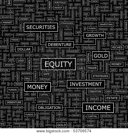 EQUITY. Seamless pattern. Word cloud illustration. Vector illustration.