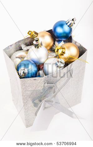 Gift Bag Filled With Christmas Decorations