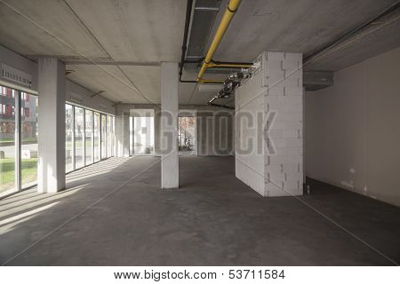 Empty Interior Of An Unfinished Building