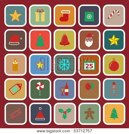 Christmas Flat Color Icons On Red Background