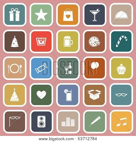 Party Flat Icons On Pink Background