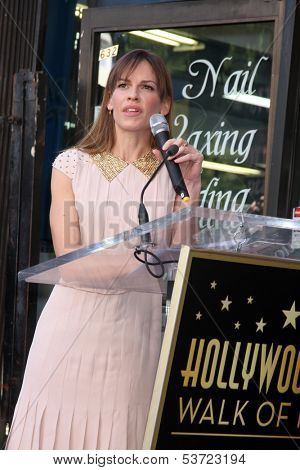 LOS ANGELES - NOV 8:  Hilary Swank at the Mariska Hargitay Hollywood Walk of Fame Star Ceremony at Hollywood Blvd on November 8, 2013 in Los Angeles, CA\