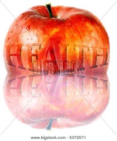 red apple with word health on it - on white background poster