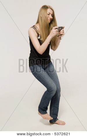 Girl Plays A Computer On Psp