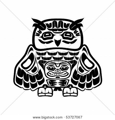 Vector illustration of an owl, stylization of Native North American art. poster