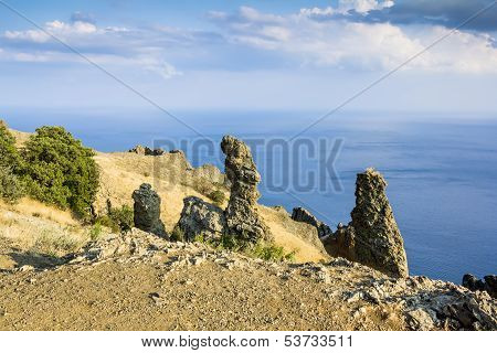 Kara Dag massif Crimea extinct volcano Kara-Dag mountain reserve Ukraine poster
