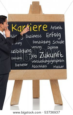 Composite image of thoughtful asian businessman pointing german terms about career on a chalkboard