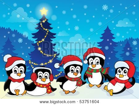 Winter theme with penguins 4 - eps10 vector illustration.