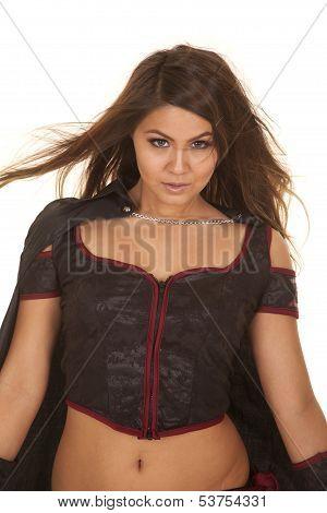Woman Bandit Hair Blow Look Serious