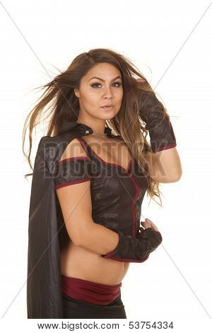 Woman Bandit Hair Blow Side Serious