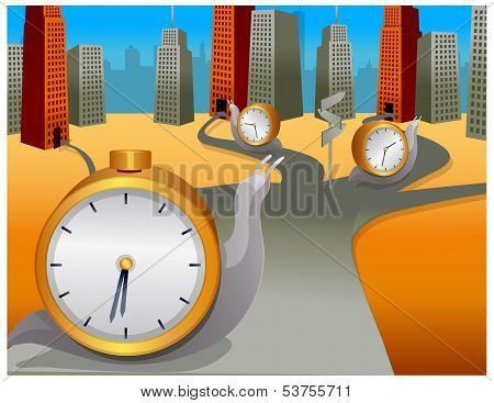 Snail With Clock Moving In Different Direction