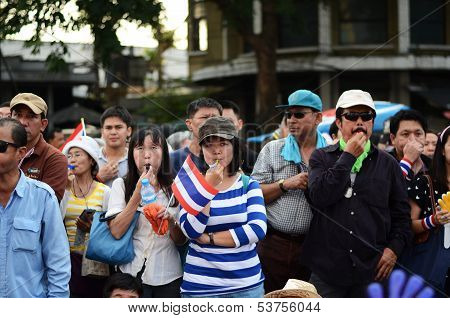 Bangkok - November 11 : The Democrats Are On The March At Democracy Monument, In Bangkok, Thailand