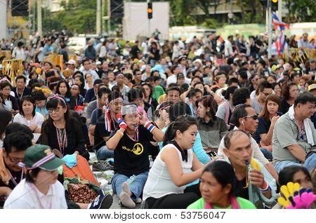 Bangkok - November 11, 2013 : Anti-government Protesters At The Democracy Monument In Bangkok, Thail